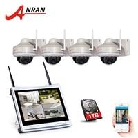 ANRAN 4CH Built In 12 LCD NVR Wifi CCTV Kit P2P 960P HD Night Vision IP