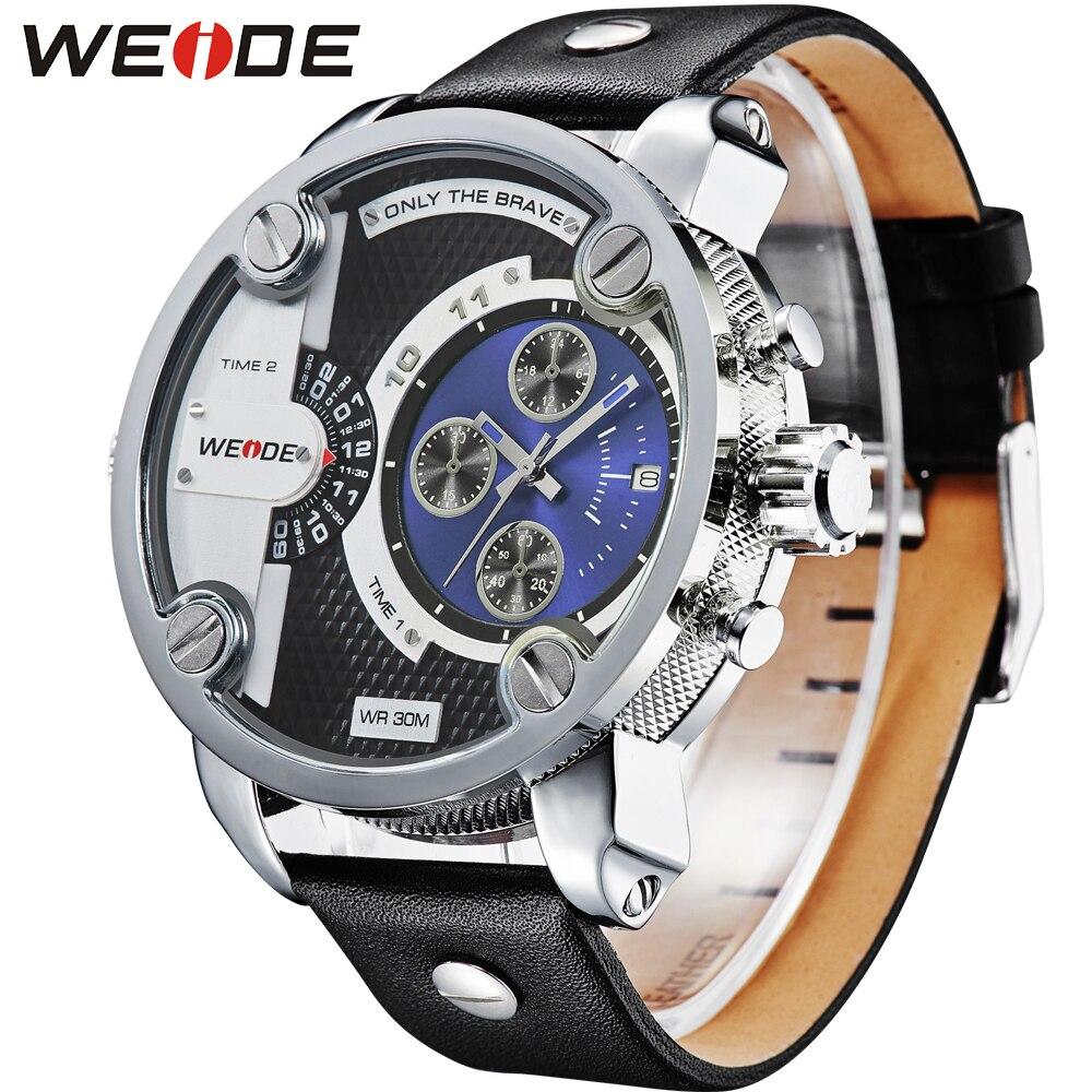 Бренд WEIDE, многофункциональные мужские спортивные часы с двойным часовым поясом, аналоговый Дисплей 30 м, водонепроницаемый кожаный ремешок,... - 3