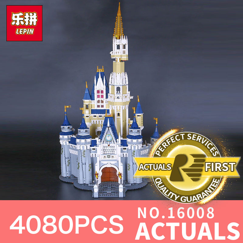 LEPIN 16008 4080Pcs The movies series Creator Cinderella Princess Castle City  Model Building Block Toy Model Gift 71040 lepin 16008 creator cinderella princess castle city 4080pcs model building block kid toy gift compatible 71040