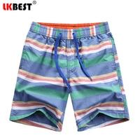 LKBEST Brand Board Shorts Men Cotton Swimwear Man Bermudas Trunks Baggy Rainbow Striped Casual Shorts Free Shipping 5181
