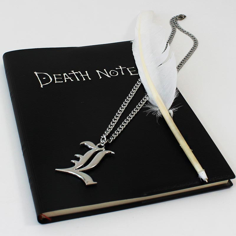 3pcs/set Death Note notebook necklace feather pen set Anime Death Note cosplay toy free shipping