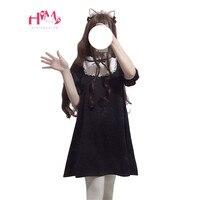 2019 japoński śliczne moda czarna sukienka kobiety koreańskie kawaii łuk koronki gotycki styl Harajuku stanąć kołnierz dziewczyny Lolita Mini sukienka w Suknie od Odzież damska na