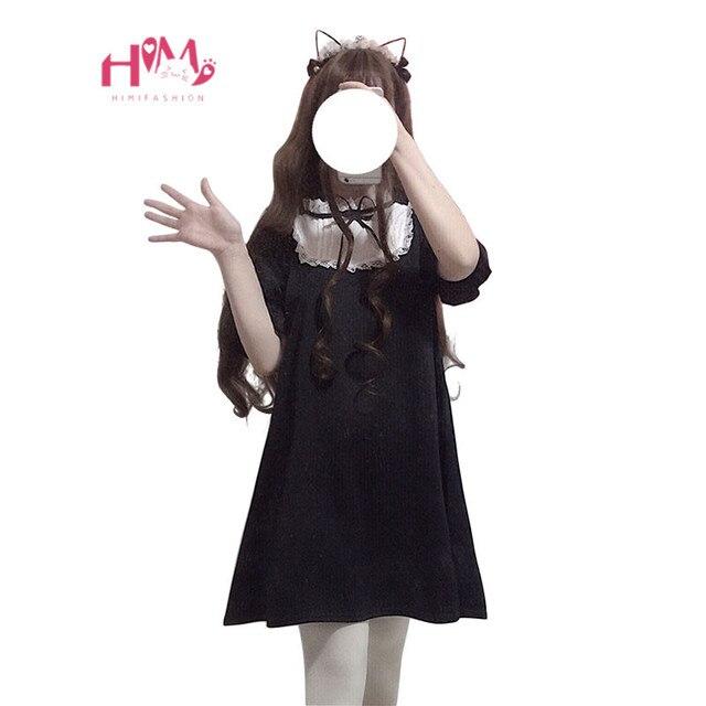 2019 Style Kawaii Filles Mignon Harajuku Femmes Gothique Coréenne Arc Dentelle Lolita Noire Japonais Mode Col Montant Robe Mini JFlK1c
