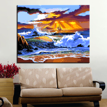 DIY Oil Painting By Numbers Kits Coloring HandPaint Sunset Seascape Sea Wave And Ship Canvas Pictures Living Room Decor Wall