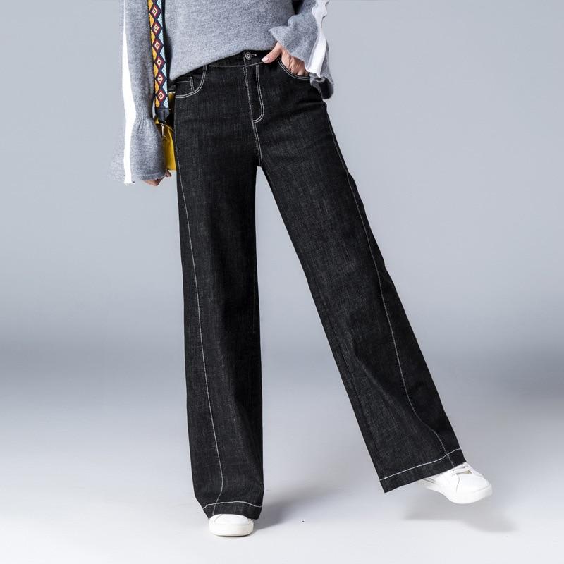 Female Vintage Classic Jeans Simple Style Black Wide Leg Denim Jeans Women Autumn High Waist Side Seam Casual Denim Jeans Pocket