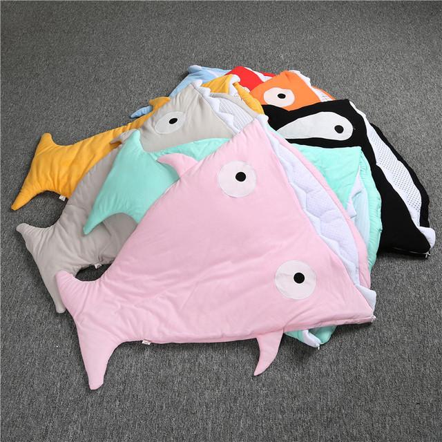Promoção! tubarão dos desenhos animados starfish com cap recém-nascidos saco de dormir do bebê inverno