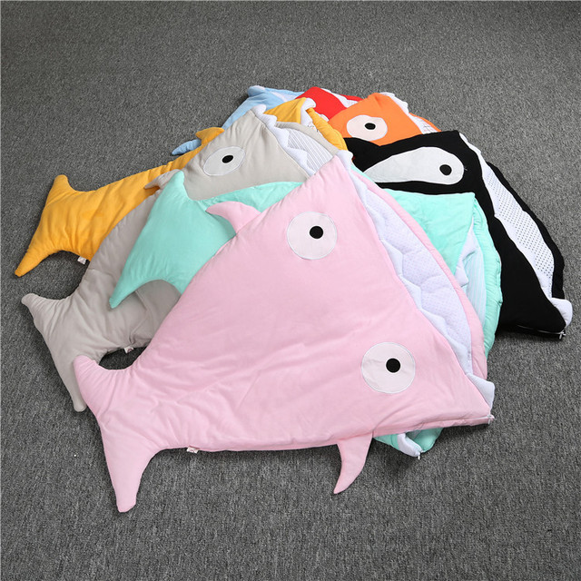 Promotion! cartoon shark sleeping bag baby starfish with cap newborns winter