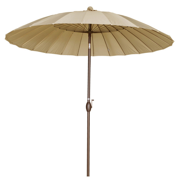 Abba Patio 8.5' Round Parasol Patio Umbrella with Push Button Tilt and Crank 24 Steel Wire Ribs UV Resistant Fabric Beige