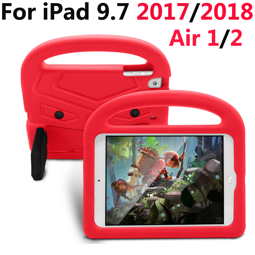 Case For New iPad 9.7 2018 6th 2017 5th Air 1 2 Pro 9.7 A1822 A1893 A1474 A1673 Kids Safe Shockproof Silicone Cover kickstand