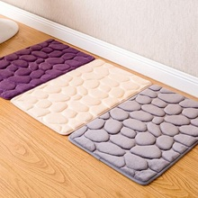 Bathroom Rebound Carpet Comfortable Doormat Kitchen Toilet Floor Absorbent Mat Flannel Bathmat Soft Bath Rug Decor Pebble Flower