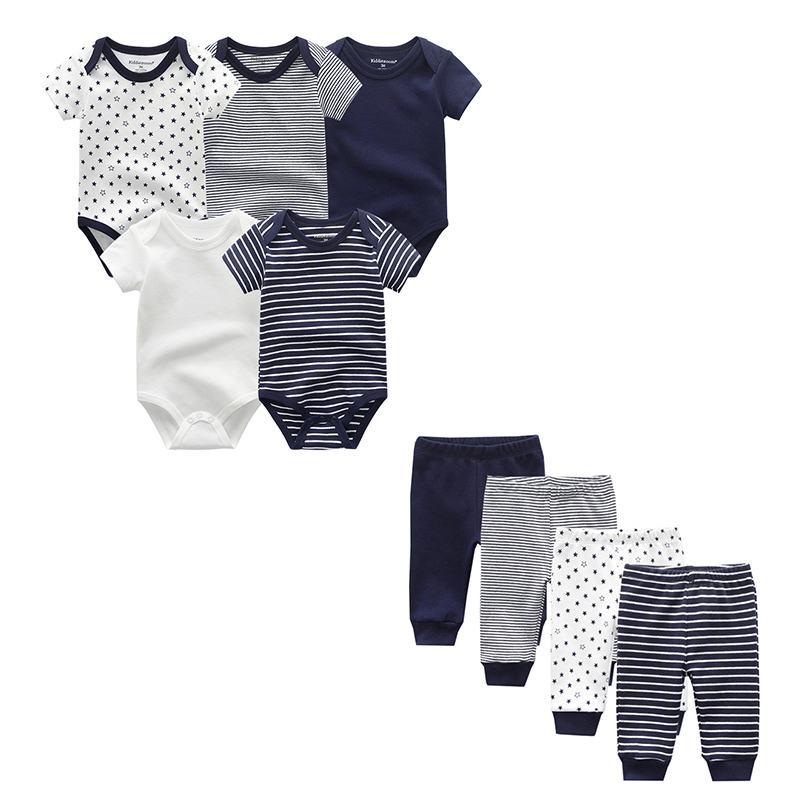 Summer 2019 Unisex Newborn Clothes Short Sleeve 5pcs Baby Rompers+4pcs Baby Pants Cotton 0-12M Clothing Set