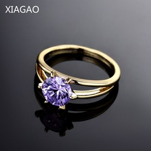 XIAGAO Fashion Wedding Rings for Women Gold-Color Ring Female Clear Purple Crystal Stone CZ Zirconia Band Engagement Ringen Anel