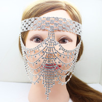 2017 NEW Fashion Shiny Fancy Crystal Masquerade Ball Women Mask curtain for Party Wedding Accessories Free Shipping