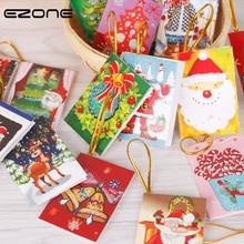 Купить с кэшбэком EZONE 10PCS Writing Papers Christmas Tree Decoration Pendant Greeting Card Printed Bell/Santa Claus/Christmas Socks Wish Cards