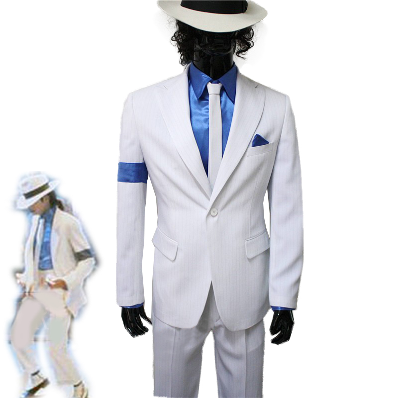 Halloween Cosplay Costume Suitable for Fans of Michael Jackson Enfant Adulte Michael Jackson Cosplay Rayures Lisses Costume Veste Chemise Cravate Chapeau Pantalon