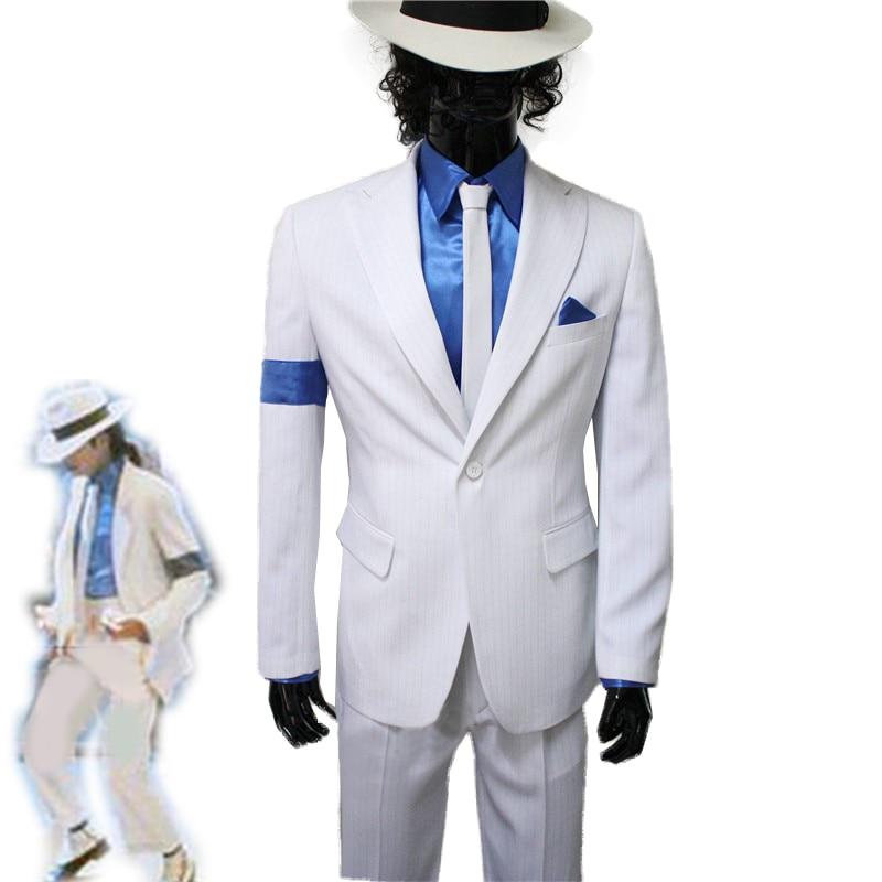 Michael Jackson Smooth Criminal Cosplay White Suit Unisex Uniform Set Any Size