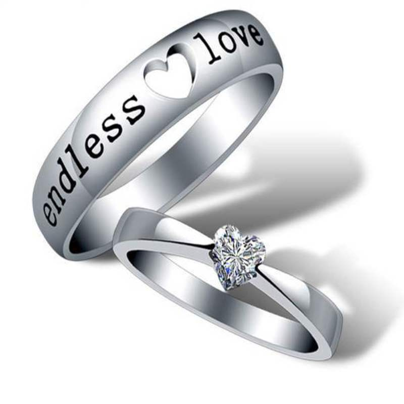 Aliexpress Com Buy Silver Plated Heart Ring Couple Men Female