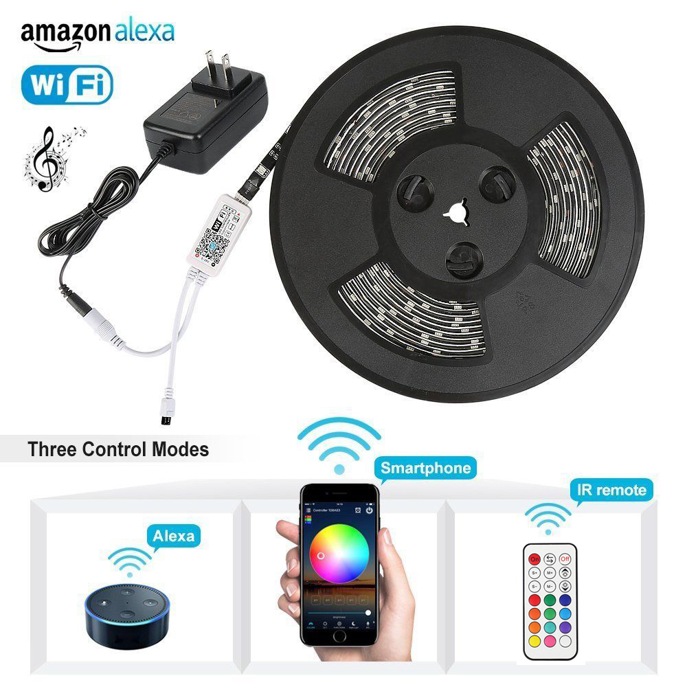 5m 2835 5050 WiFi RGB LED Strip light Christmas string led tape lamp Alexa Google Home Syc RF remote Controller + Power full set led strip light wifi alexa compatible full kit smart phone controlled music 5050 rgb led strip work with google home android ios