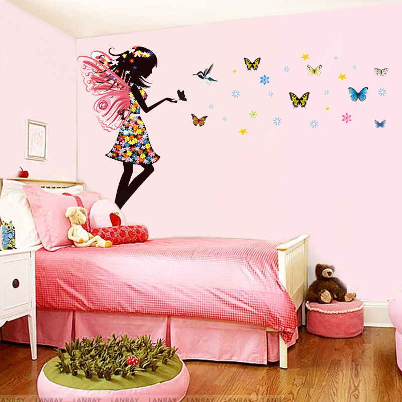 Butterfly Fairy Girls Wall Sticker Nursery Baby Bedroom Self Adhesive Vinyl Art Mural Home Decor