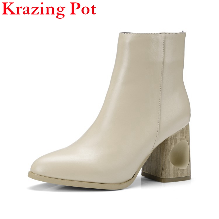 Fashion Brand Winter Shoe Strange Style Genuine Leather High Heel Warm Sweet Women Ankle Boots Thick Heel Causal Nude Boots L56 fashion square toe lace up genuine leather solid nude women ankle boots thick heel brand women shoes causal motorcycles boot l74