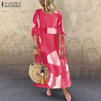 ZANZEA 2020 Vintage Women Long Maxi Dress Geometric Print Dresses O-Neck 3/4 Sleeve Pockets Vestidos Plus Size Tunic Sundress