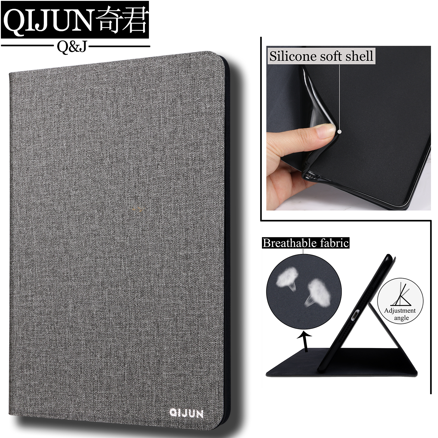 QIJUN tablet flip <font><b>case</b></font> for Apple <font><b>ipad</b></font> pro 11 inch protective Stand Cover Silicone soft shell fundas capa for <font><b>A1980</b></font> A2013 A1934 image