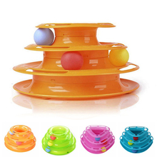 New 2016 Top Quality Funny Cat Pet Toy Cat Toys Intelligence Triple Play Disc Cat Toy Balls Free Shipping AA