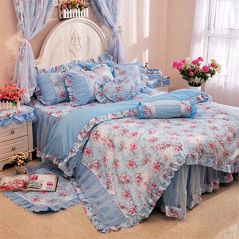 4/6/8 pcs Luxury 100% cotton bedding set blue pink lace duvet cover sets Princess style bed skirt bed linen bedclothes4/6/8 pcs Luxury 100% cotton bedding set blue pink lace duvet cover sets Princess style bed skirt bed linen bedclothes