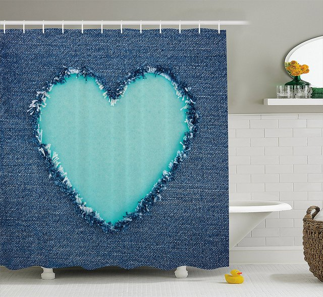 Navy And Teal Shower Curtain Ripped Denim Jean Fabric Image Heart Shape Love Romance Valentines Day Bathroom Decor