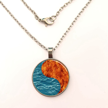 YSDLJG Yin Yang Fire and Water Chinese Glass Dome Necklace Pendant Cabochon Jewelry gift Necklaces For Unisex