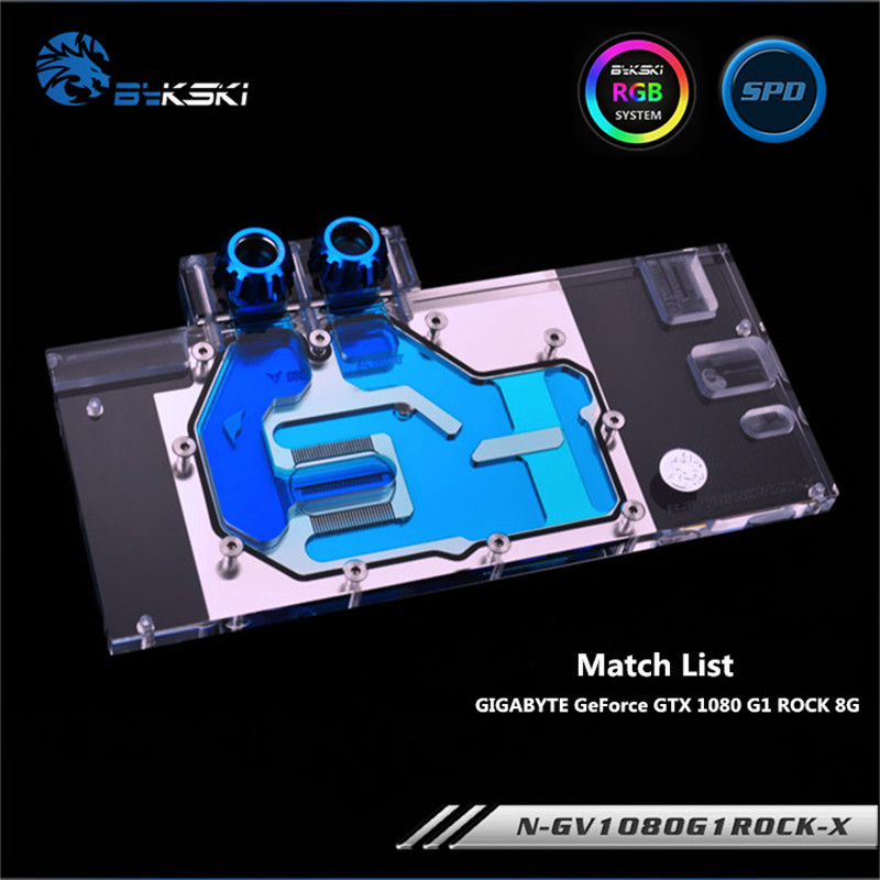 Bykski Full Coverage GPU Water Block For VGA GIGABYTE GeForce GTX 1080 G1 ROCK 8G Graphics Card N-GV1080G1ROCK-X image