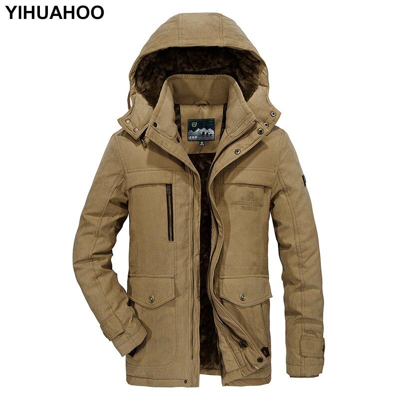 YIHUAHOO плюс Размеры M-5XL зимняя куртка Для мужчин толстые Теплая парка пальто с капюшоном Повседневное флисовая куртка несколькими карманами ...
