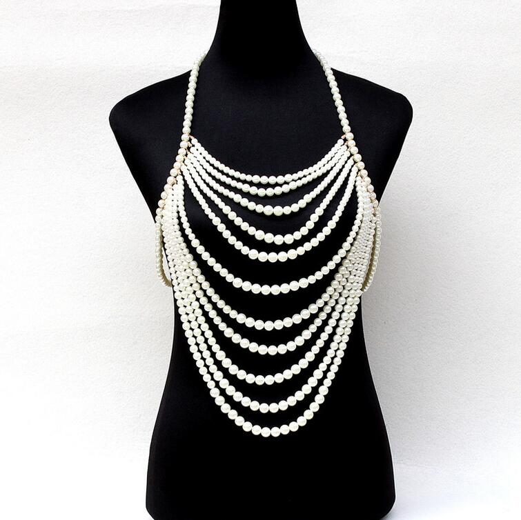 Exaggerated multi layer pearl chain tassel beaded harness necklace halter women sexy wedding bridal body jewelry