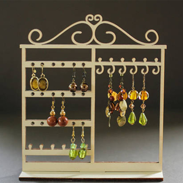 Laser Cut Wood Jewelry Organizer Earring Holder Necklace Stand