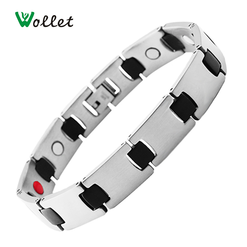Wollet 21.5cm Magnetic Infrared Negative Ion Stainless Steel Bracelets Casual Black Bracelet for Men