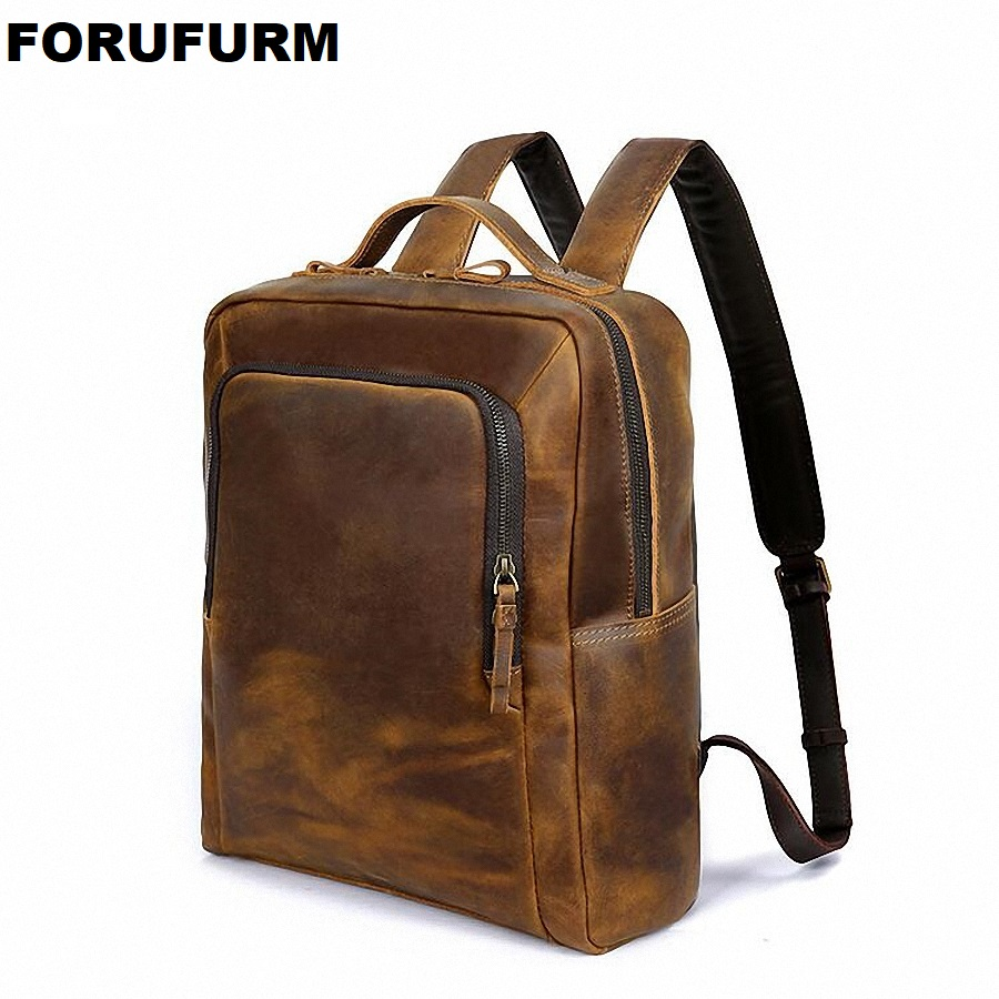 Crazy Horse Cowhide Men Backpack Genuine Leather Vintage Daypack Travel Casual School Book Bags Male Laptop Bag Rucksack LI-2224 men crazy horse real leather fashion travel bag university school book bag cowhide design male backpack daypack student bag male
