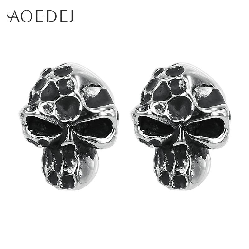 AOEDEJ Skull Black Earrings For Men Studs Stainless Steel Man Earing Punk Ear Studs Skeleton Earings Fashion Jewelry 2017 Gift