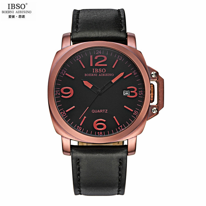 IBSO Men Leather Watch Calendar Fashion Watches Business Trend The New Military Watches Dial For Man Hot Sale Sport Watches new business casual watch trend fashion business couple watch