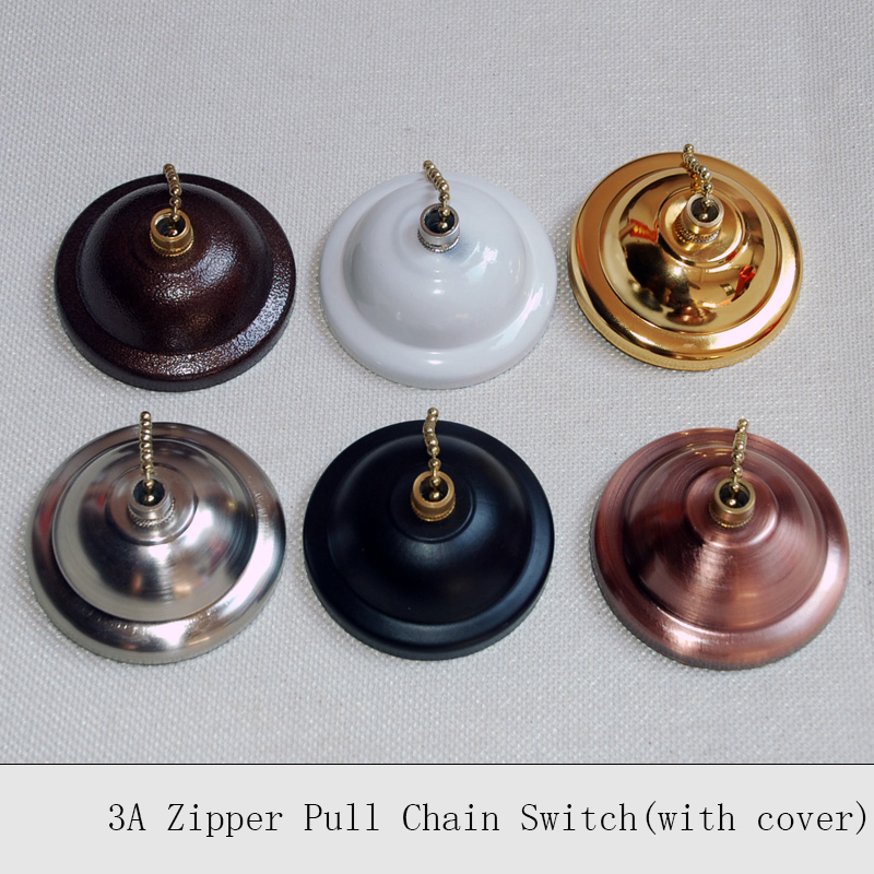 Wall Zipper Switch Single Control 3A Vintage Lamp Pull Chain Switch With Metal Cover Hall Stores Renovated Wall Switches 6PCS