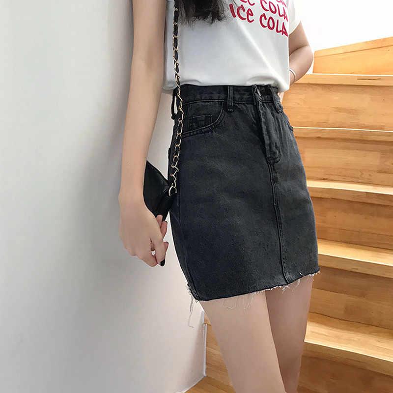 Черные Серые женские джинсовые юбки с высокой талией уличная мода 2019 летние винтажные короткие джинсовые трапециевидные юбки Femme Повседневные джинсы Saia