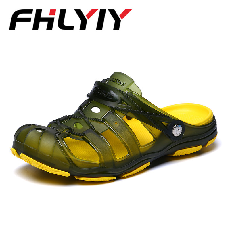 2018 New Arrival Men Summer Beach Slipper Breathable Water Sandals Male Gardening Shoe Hollow Out Beach Flip Flops Jelly Sandals