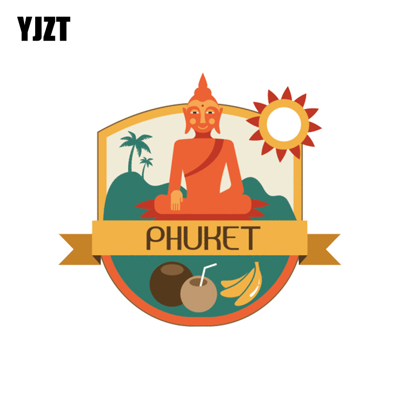 YJZT 12.4CM*11.1CM Phuket Thailand World City Travel Label PVC Motorcycle Car Sticker 11-00433
