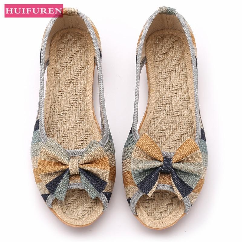 Women Flat Sandals  Flax Summer Shoes Woman Open Toe Fashion Canvas Wedges Open Toe Non-Slip Sole Slip On Female Sandal Footwear
