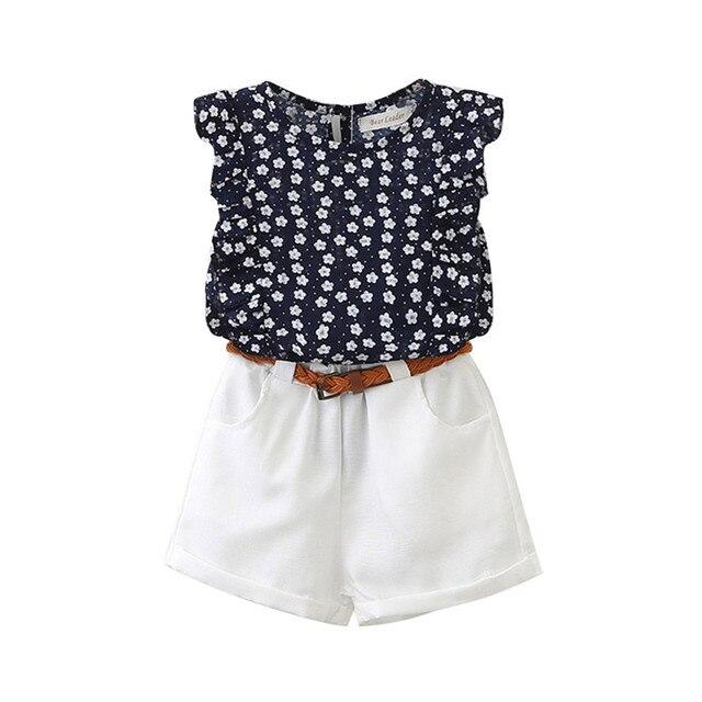 KAVKAS Casual Children Flowers Blue T-shirt Pants Girls
