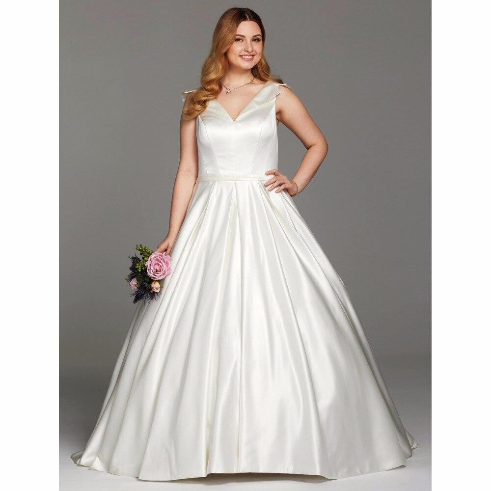 Ruching Wedding Gowns: LAN TING BRIDE Ball Gown Wedding Dress V Neck Chapel Train
