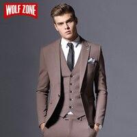 Mens מכירת מותג גברים בליזר עסקים חתן חליפה רשמית מקטורן כפתור אחת בגדי שלוש חתיכות Slim Fit המפלגה שמלת כלה