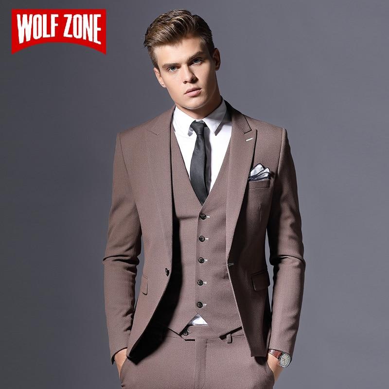 ขายแบรนด์ Mens เสื้อสูทธุรกิจอย่างเป็นทางการ Blazer เจ้าบ่าวสามชิ้น Slim Fit Party เสื้อผ้าเดี่ยวงานแต่งงานชุด-ใน สูท จาก เสื้อผ้าผู้ชาย บน   1