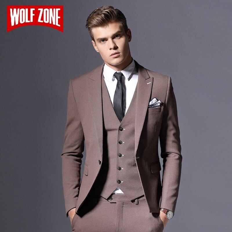 Vente marque hommes costume veste formelle affaires Blazer hommes marié trois pièces Slim Fit fête vêtements simple bouton robe de mariée