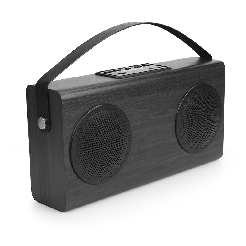 Wooden Portable Bluetooth Speaker FM Radio Wood Grain Wireless Home Bookshelf Speakers Enhanced Bass 4000mAh External Battery
