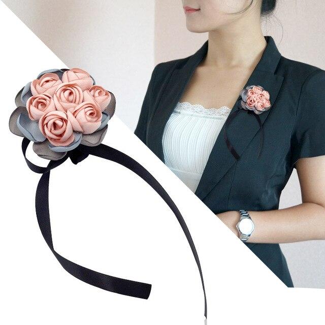 Я-Remiel Мода ручной корейский брошь цветок из ткани лента ткань Книги по искусству Pin Для женщин нагрудный знак рубашка воротник аксессуары и украшения